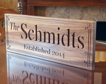Personalized Family Established Sign 5yr Anniversary Gift Personalized Name Sign Custom Sign Mr And Mrs Wedding Sign Walnut BB
