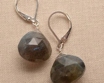 Labradorite Earrings - Sterling Silver Leverback Earrings - Healing Gemstone Jewelry - Labradorite Drop Earrings