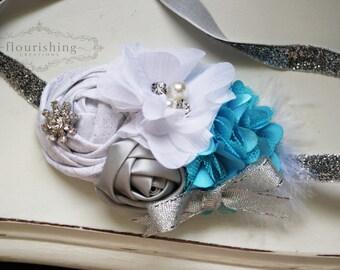 Frozen Inspired Headband, newborn headbands, blue and white headbands, winter headbands, silver headbands