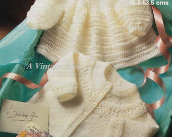 Baby Dk 8ply Angel Top and Matinee Jacket sizes 18 to 21 ins -  Marriner 1992  - PDF of Vintage  Knitting Patterns