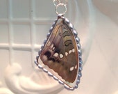 Real Butterfly Wing between glass hand Soldered Pendant Moore Butterfly Butterfly Necklace Birthday Christmas Gift Statement Jewelry