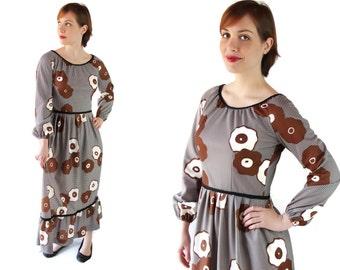 70s Dress / Mod / Maxi / Hippie / Boho / Flower Power / Brown / Mr Roberts