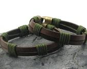 FREE SHIPPING Couple bracelet Men Bracelet -Women leather bracelet.Leather Bracelet Brown leather multi strand bracelet with  antique clasp