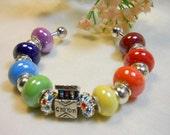 The Artist Bracelet, Crayon Box Bangle Bracelet, Rainbow Beaded Bracelet, Chakra Rainbow Colors, Unique Gifts