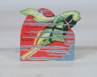 1961 Valentines Card-  Fish, Swordfish, Fishing