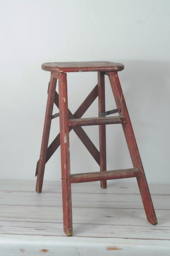 Vintage Wood Ladder Red Step Ladder Chippy Paint Step