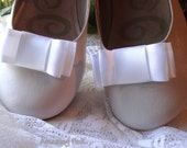 Satin Bow Shoe Clips / Bridal Party Wedding /Women Shoe Clips in White