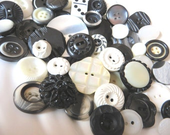 Black and White Dominos Vintage Button Collection - 51 unique buttons