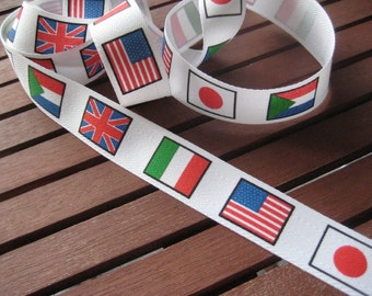 ON SALE Vintage White Ribbon with Repeating National Flag Motif - including USA, Italy, England and Japan (3 yards)