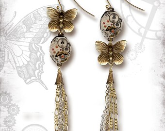 Steampunk Butterfly Tassel Dangle Earrings by Za Dee Da - The Mystic Seeker Collection - Transformational Time