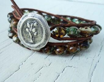 Leather Wrap Bracelet, Tree Charm Bracelet, Green neutral bracelet, Boho Bracelet, Bohemian wrap bracelet, Earthy double wrap
