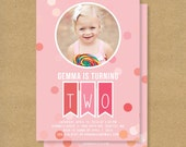 Girl Birthday Party Invitation - PINK CONFETTI + BUNTING
