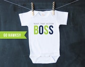 BOUT THAT ACTION Boss - Baby Football Bodysuit - Seahawks Baby Top