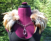 Cream & Brown Feather Collar Wings Faerie Couture Costume