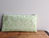 Lime Green and White Damask Pencil Case, Zipper Pencil Pouch, Back to School