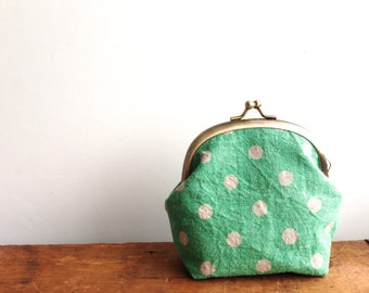 Polka Dots Coin Purse, Mint Green, Metal Frame Coin Purse