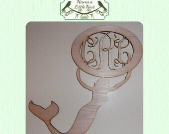 Mermaid Monogram Wood Cut Out- Laser Cut Wood