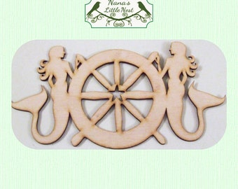 Mermaid and Ships Wheel -  (Large ) Wood Cut Out -  Laser Cut