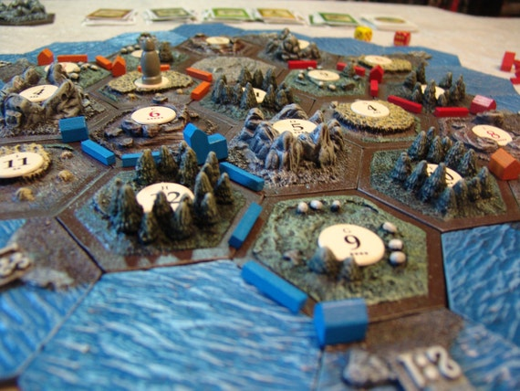 Hand Designed, Crafted, and Painted 3D Settlers of Catan Tiles
