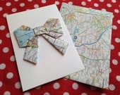 Handmade Origami Bow Greeting Card Matching Map  Envelope