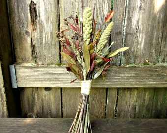 Fall Bouquet, Rustic Wedding Bouquet - Natural Dried Twig & Berry Bouquet - Heavenly Bamboo, Red Osier Dogwood, Eucalyptus, and Millet