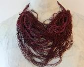 Crocheted Burgundy Silk & Paper Thread Necklace