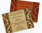 "Solid Wood Wedding Invitation Sample - ""Elegant Damask"" Design Engraved on a Variety of Wood Species"