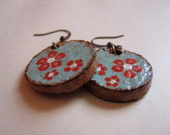 Recycled champagne cork earrings hand painted sky blue with red flowers