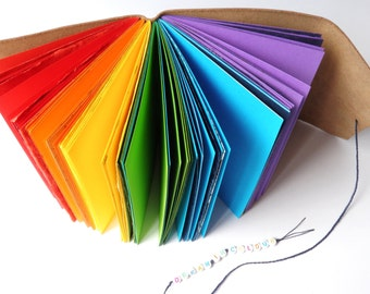 Dream In Colour Rainbow Journal - Patchwork of Different Coloured Paper Pages in a Leather Cover