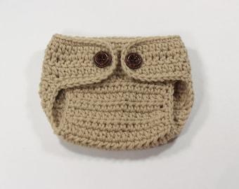Newborn Diaper Cover - Light  Beige Color - Knit / Crochet - Photography Prop