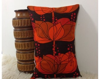 """Lumbar Pillow Cover, Vintage 60s Boras Fabric, Rio By Helene Wedel 12"""" x 18"""""""