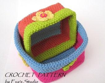 Crochet square baskets - two sizes, crochet pattern, easy, Crochet Pattern PDF, Great for Beginners, Pattern No. 58