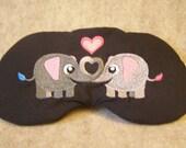 Embroidered Eye Mask for Sleeping, Sleep Mask for Kids, Adults, Sleep Blindfold, Eye Shade, Love Slumber Mask, Elephant Design, Handmade