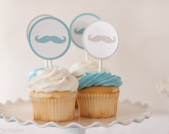 Little Man Baby Shower, Mustache Cupcake Toppers, Boy Birthday, Boy Baby Shower Decoration, Blue and Gray Boy Shower