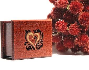 Romantic gift Music Box heart Love Handmade art  wooden Amelie paris french