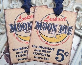 Vintage Moon Pie Gift Tags (6) Vintage Style Tags-Shabby Gift Tags-Food Gift Tags-Treat Tags-Note Card-Gift Tags-Favor Tags-Retro Gift Tags