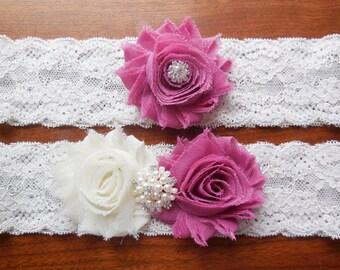 Wedding Garter, Dusty Rose Garter, Lace Garter,Pink Garter,Rose Garter,Ivory Garter, Garter, Wedding Garter, Garter Set, Brides Garter