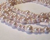 Long Necklace Pink Pearl Crystal & Free Earrings by Mind4Design
