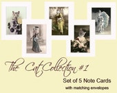Cat Collection 1 - Note Cards - Card Set of 5 - Vintage Cat - Anthropomorphic - Altered Photo - Photo Collage - Unique Card Set