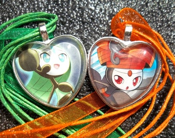 Meloetta - Aria and Pirouette Forme - SET Glass Pendants made from Trading Cards