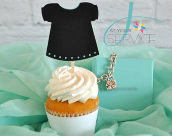 Breakfast at Tiffany's Inspired Little Black Dress Cupcake Toppers
