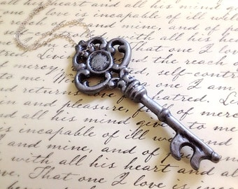 Large Antique Style Silver Key Necklace. Decorated Key. Key Jewelry. Skeleton Key. Ornate Vintage Style Key. Silver Chain. Statement Jewelry