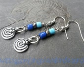 Rustic spiral amulet charm earrings  with blue, dark silver & turquoise beads. Fibonacci nickel-free Bohemian hippie pagan Pixie native boho