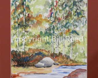 Home Decor - Mountain Stream - original watercolor painting