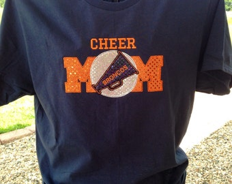 Cheer Mom Ladies T-Shirt - Bling Sparkle Cheer Applique - Megaphone - Personalized Embroidered - Custom Team Shirt