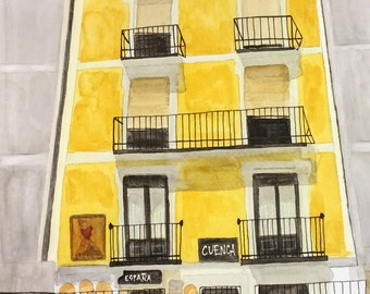Cuenca Spain (Espana) Original Watercolor Painting by Theresa Smith 12x14