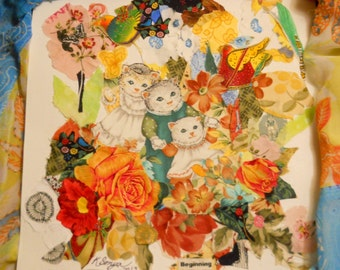 Cat Fabric Art, Fiber Art Picture, Fabric Collage of Cats and Flowers, Original Collage, Kathleen Leasure, FromGlenToGlen