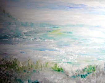 Serenity Oil, Ocean Painting, Pacific Northwest Beach Ocean Peace Meditation Healing Dream Art 33 x 23 Kathleen Leasure, FromGlenToGlen