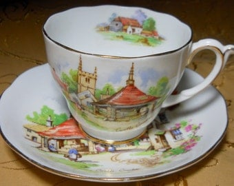 Beautiful Britain Teacup Set, Roslyn China, Castle Combe Series, Made in England, Kathleen Leasure