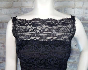 ON SALE 1950's Black Tiered Lace Dress